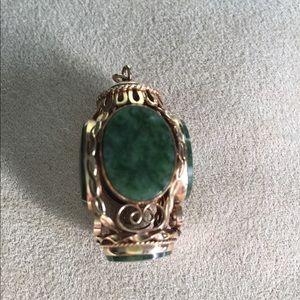 Vintage 14k Chinese Jade Lantern Pendant